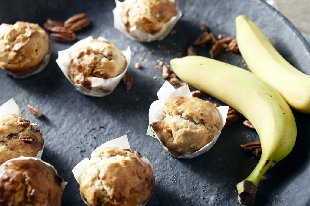 Banaan-notenmuffins